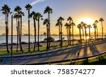 coastal road sunset in long... | Shutterstock . vector #758574277