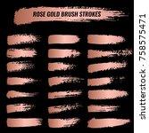 set of brushes  paints  strokes ... | Shutterstock .eps vector #758575471
