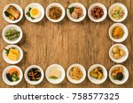 side dishes of rice japanese... | Shutterstock . vector #758577325
