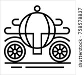 vector outline wedding carriage ... | Shutterstock .eps vector #758578837