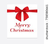 paper sheet with a red ribbon... | Shutterstock .eps vector #758580661