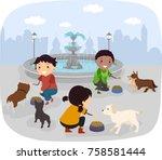 illustration of stickman kids...   Shutterstock .eps vector #758581444