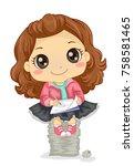 illustration of a kid girl... | Shutterstock .eps vector #758581465