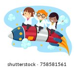 illustration of stickman kids... | Shutterstock .eps vector #758581561