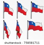 chile flag on pole vector drawn   Shutterstock .eps vector #758581711