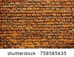 colorful stone brick wall... | Shutterstock . vector #758585635