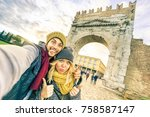 happy hipster couple taking...   Shutterstock . vector #758587147