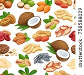 seamless pattern with nuts and... | Shutterstock .eps vector #758588029