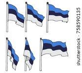 estonia flag on pole vector...   Shutterstock .eps vector #758590135