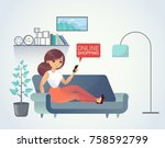 young woman doing online... | Shutterstock .eps vector #758592799