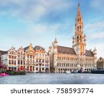 grand place in brussels  belgium | Shutterstock . vector #758593774