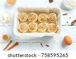 cinnamon rolls or cinnabon ... | Shutterstock . vector #758595265