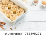 cinnamon rolls or cinnabon ... | Shutterstock . vector #758595271