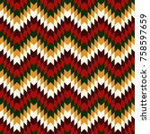Ethnic seamless pattern with chevron lines. Native americans ornament. Tribal motif. Christmas traditional colors mosaic wallpaper. Boho chic digital paper, textile print, page fill. Vector art | Shutterstock vector #758597659