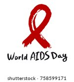 world aids day calligraphy hand ... | Shutterstock .eps vector #758599171