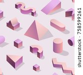 trendy abstract memphis... | Shutterstock .eps vector #758599261