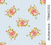 seamless floral pattern with... | Shutterstock .eps vector #758601331