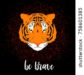 tiger portrait. cartoon graphic ... | Shutterstock .eps vector #758601385
