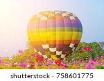 hot air balloon flying over... | Shutterstock . vector #758601775
