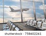 empty airport departure lounge... | Shutterstock . vector #758602261