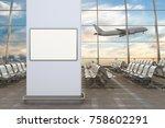 airport departure lounge. blank ... | Shutterstock . vector #758602291