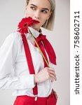attractive elegant girl posing... | Shutterstock . vector #758602711
