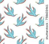swift bird vector seamless...   Shutterstock .eps vector #758603461