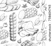vector pattern with meat... | Shutterstock .eps vector #758604745