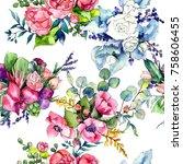 wildflower bouquet pattern in a ... | Shutterstock . vector #758606455