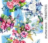 wildflower bouquet pattern in a ... | Shutterstock . vector #758607031