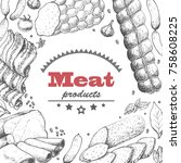 vector background with meat... | Shutterstock .eps vector #758608225