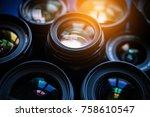 light on the glass of camera... | Shutterstock . vector #758610547