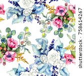 wildflower bouquet pattern in a ... | Shutterstock . vector #758614267