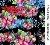 wildflower bouquet pattern in a ... | Shutterstock . vector #758614477