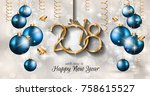 2018 happy new year background... | Shutterstock . vector #758615527