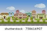 vector urban landscape. set of... | Shutterstock .eps vector #758616907