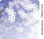 abstract winter background with ... | Shutterstock . vector #758617441