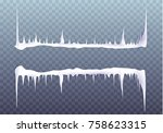 snow icicles isolated on... | Shutterstock .eps vector #758623315