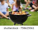 tasty steaks and vegetables...   Shutterstock . vector #758625061