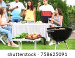 barbecue grill  table with... | Shutterstock . vector #758625091