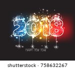 new years 2018 polygonal line... | Shutterstock . vector #758632267
