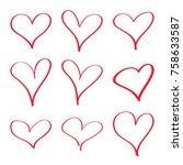 modern vector set of hand drawn ... | Shutterstock .eps vector #758633587