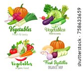 healthy food banners with... | Shutterstock .eps vector #758633659