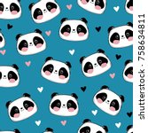 panda vector illustration... | Shutterstock .eps vector #758634811