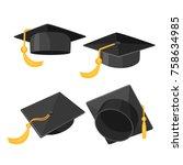 set of mortarboard caps with... | Shutterstock .eps vector #758634985
