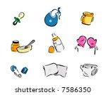 baby icons   vector | Shutterstock .eps vector #7586350