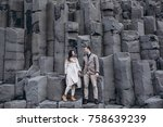 stylish wedding couple are... | Shutterstock . vector #758639239