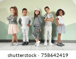 cute stylish children near... | Shutterstock . vector #758642419