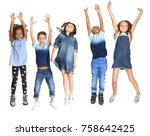 cute stylish children on white... | Shutterstock . vector #758642425
