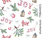 watercolor christmas seamless... | Shutterstock . vector #758644021